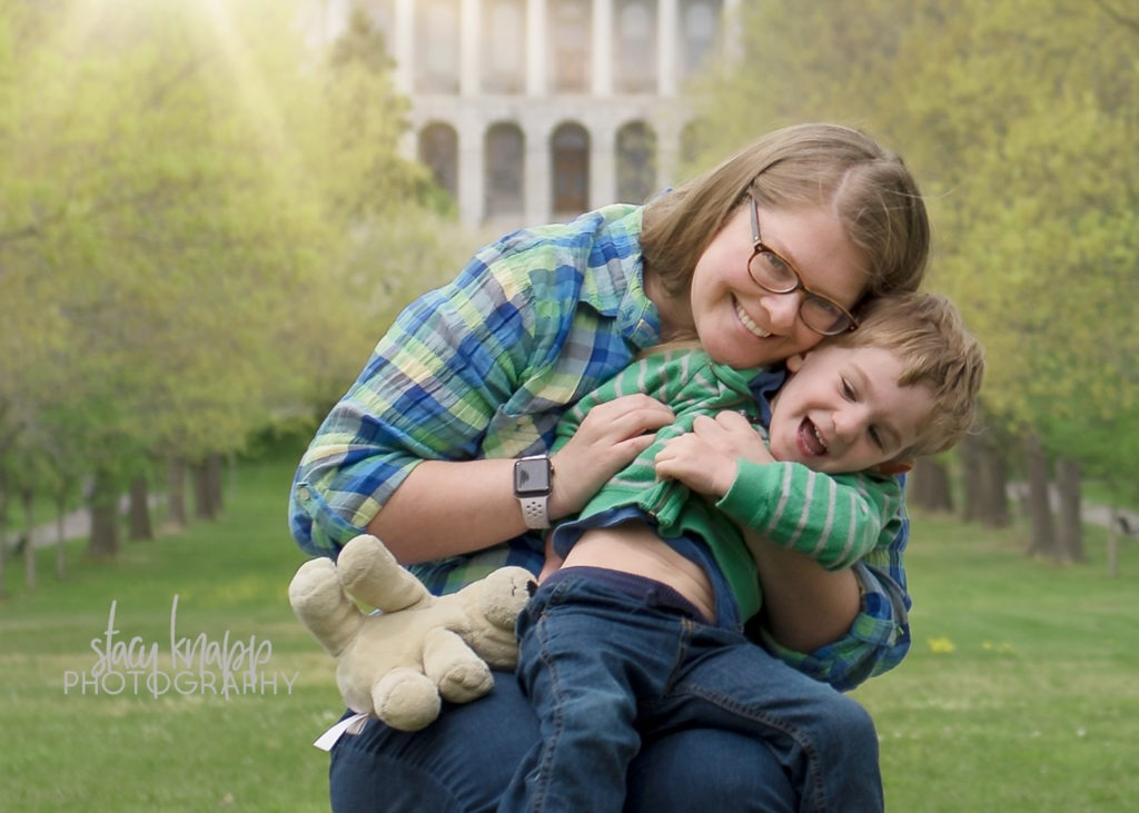 Mother and son photographed in Capital Park in Augusta, Maine
