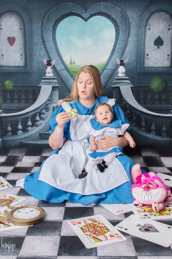 Mommy and me photograph as Alice in Wonderland