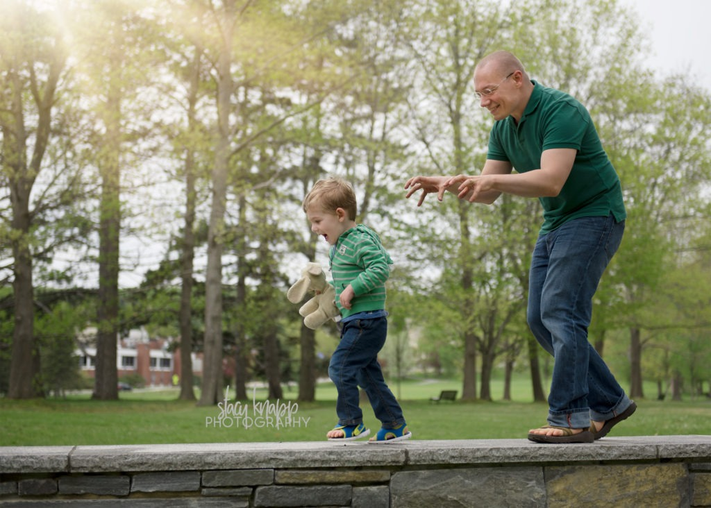 Father and son photographed in Capital Park in Augusta, Maine