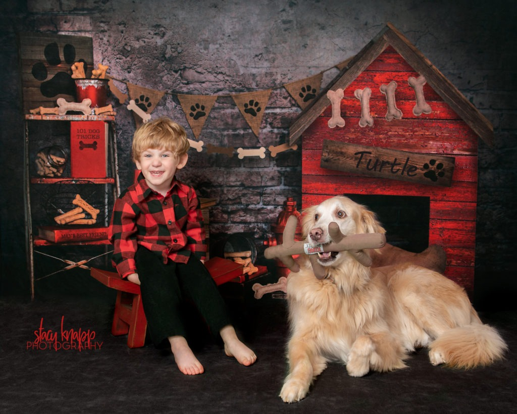 Toddler boy and his dog photographed together