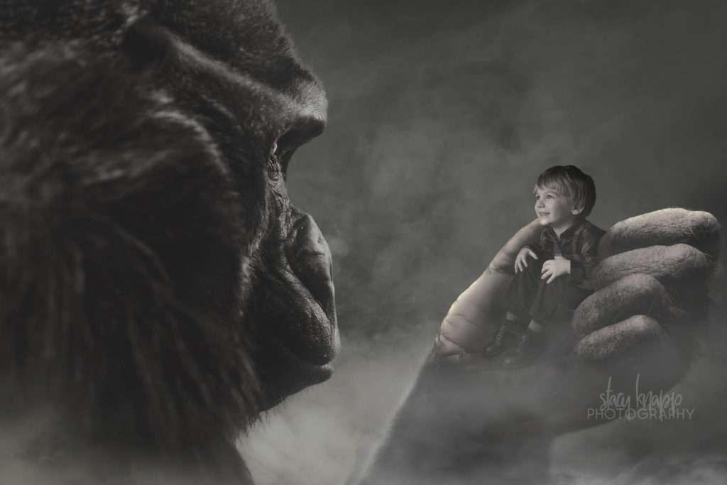 Gorilla composite photo with preschool boy