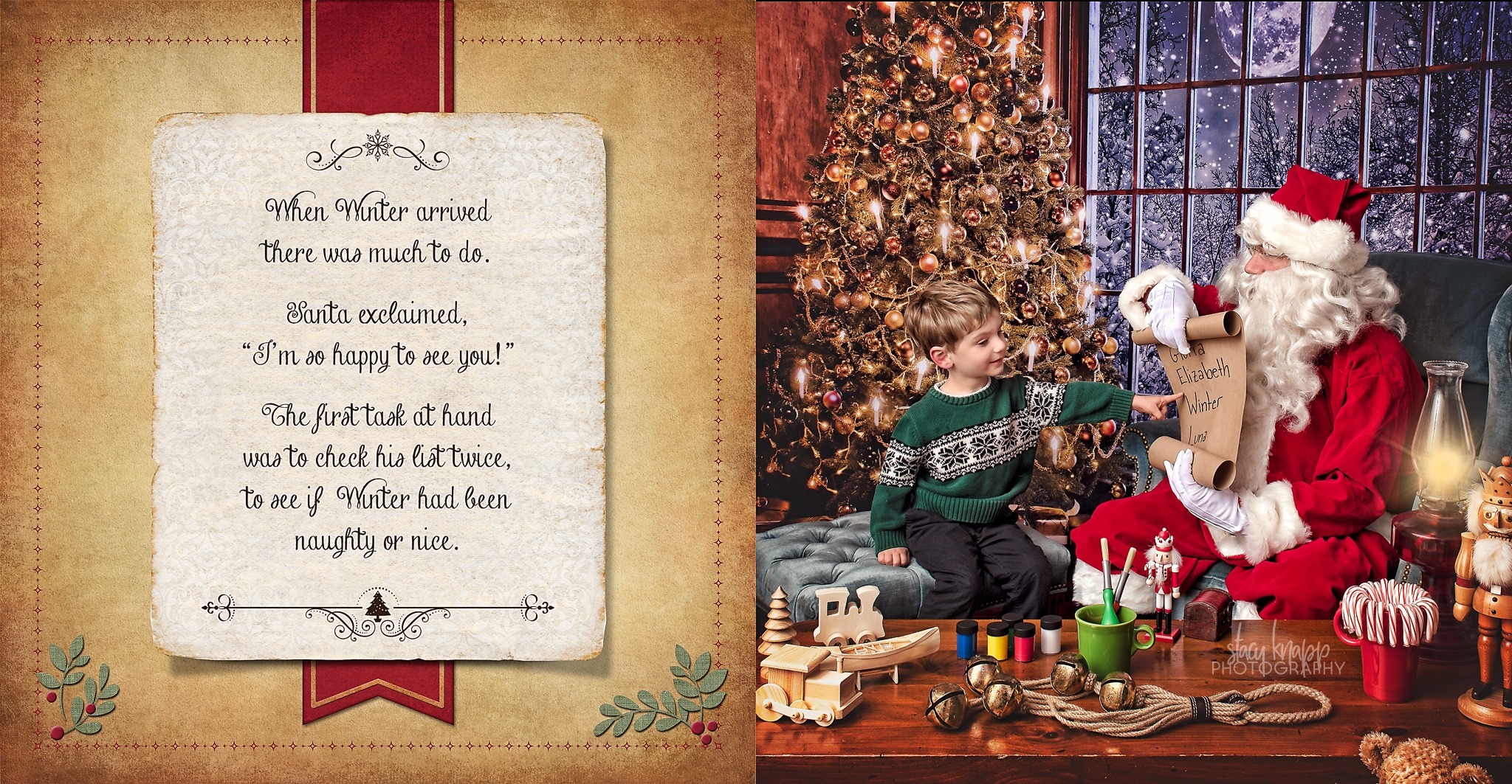 Santa with little boy storybook image