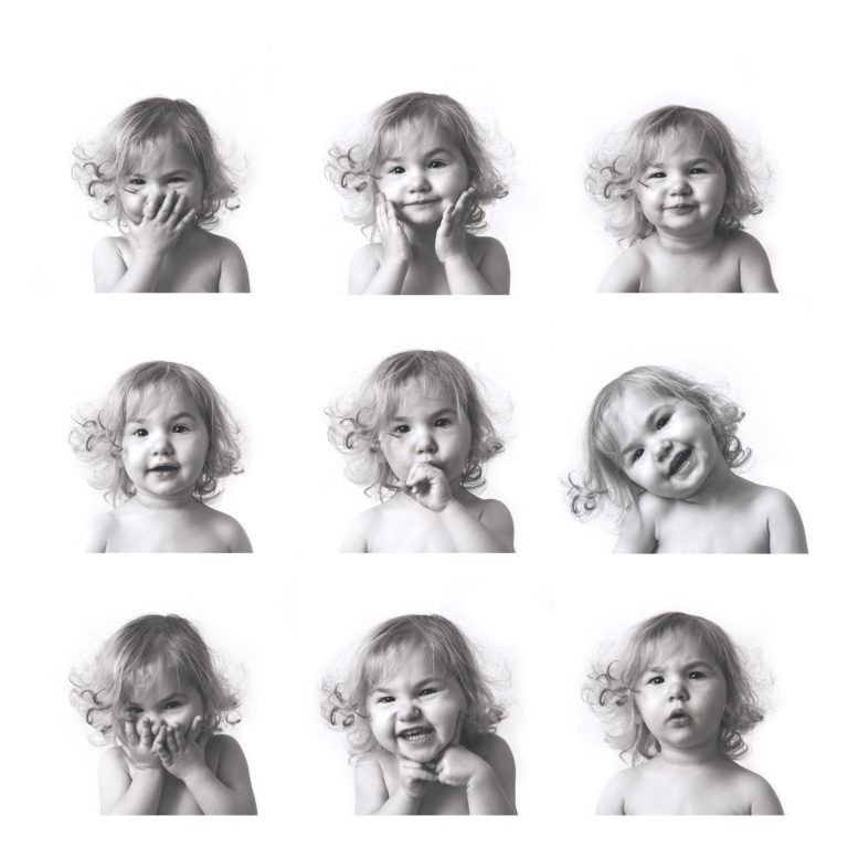 9 photographs of little girl