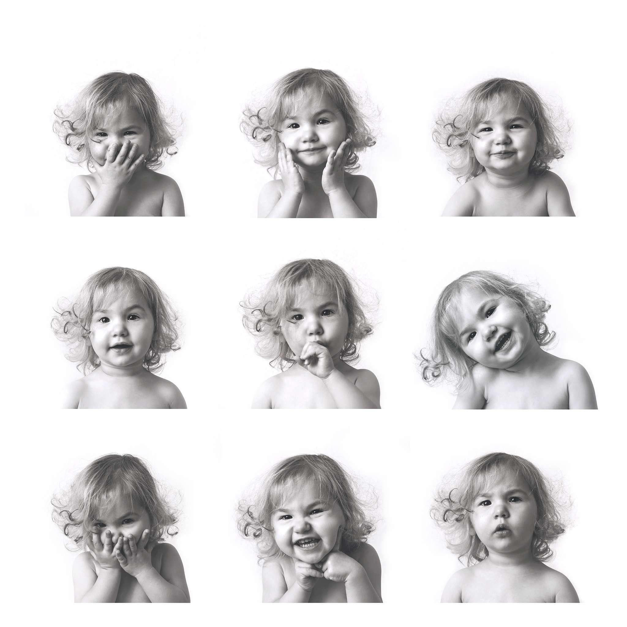 9 photographs of little girl